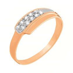 Серебряное кольцо с фианитами и позолотой 000025658