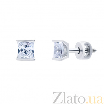 Серебряные серьги-гвоздики с фианитом Принцесса AQA-2322