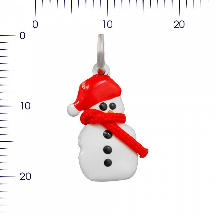 Серебряный подвес Снеговичок с красной и черной эмалью 000081769