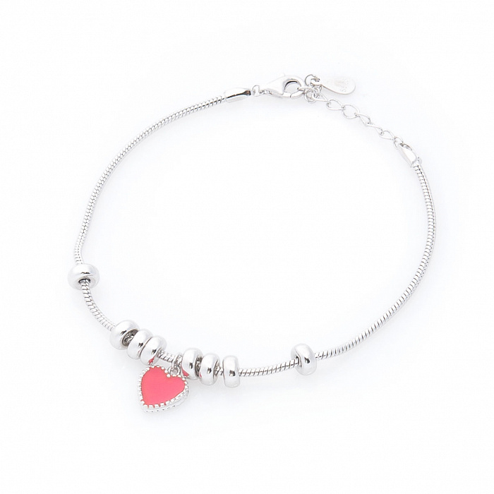 Серебряный браслет Краски любви с розовой эмалью 000080279