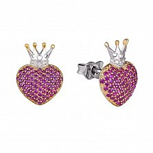 Серебряные серьги-пуссеты Королевское сердце с синтезированными корундами и фианитами