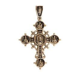 Двусторонний золотой крест Иисус Христос с чернением 000068433