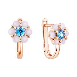 Золотые сережки Нежная ромашка с голубым фианитом и синтезированными розовыми опалами