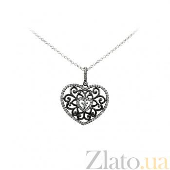 Колье из серебра с фианитами Ажурное сердечко 3Л704-0007