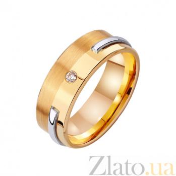Золотое обручальное кольцо Счастливый век с фианитом TRF--422697