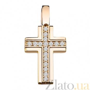 Золотой крестик с бриллиантами Идеал KBL--П089/крас/брил