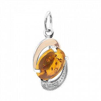 Серебряная родированная подвеска с золотой накладкой, янтарем и фианитами 000105959