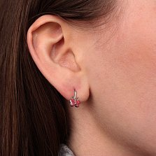 Серебряные детские серьги Бабочки с розовой эмалью