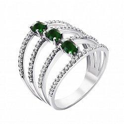 Серебряное широкое кольцо Ирида с зеленым кварцем и фианитами