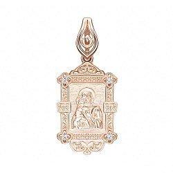 Ладанка из красного золота Божия Матерь Владимирская с цирконием 000139221
