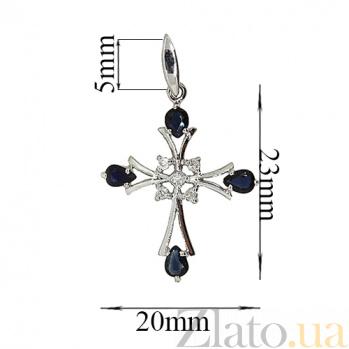 Серебряный крестик с сапфирами и бриллиантами Рим ZMX--PDS-6486-Ag_K