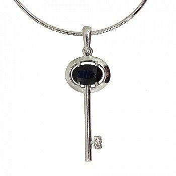 Серебряный подвес с сапфиром и бриллиантами Ключик от сердца 000022239