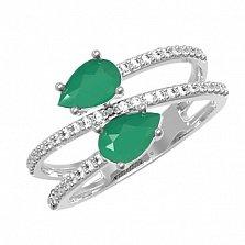 Серебряное кольцо Белла с зеленым агатом и фианитами