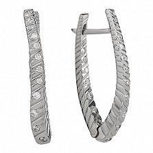 Серебряные серьги Рябь