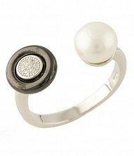 Серебряное кольцо Жозефа с жемчугом, черной керамикой и фианитами