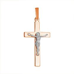 Золотой православный крест в комбинированном цвете 000011008