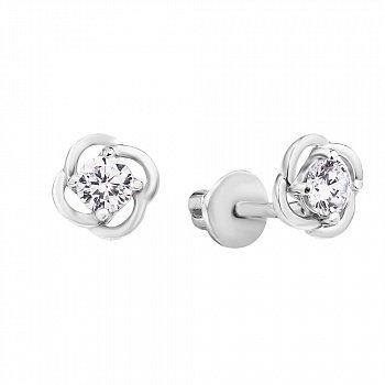 Серебряные серьги-пуссеты с фианитами 000115657