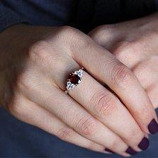 Серебряное кольцо Шарлиз с гранатом и фианитами