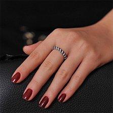 Золотое кольцо Бриллиантовая россыпь с черными и белыми бриллиантами
