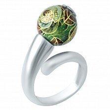 Серебряное кольцо Азалия с цветной эмалью