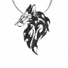 Серебряная подвеска Личный волк с черными фианитами