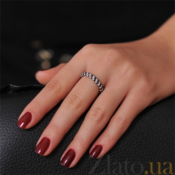 Золотое кольцо с черными и белыми бриллиантами Бриллиантовая россыпь EDM--КД7422/1ЧЕРН