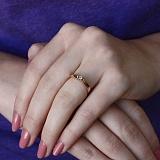 Золотое кольцо Грация в красном цвете с бриллиантом