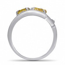 Золотое кольцо Третье измерение в белом цвете с цитрином и фианитами