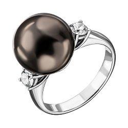 Кольцо из белого золота с черным жемчугом и бриллиантами 000137881