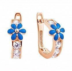 Серьги из красного золота с голубой эмалью и фианитами 000115152