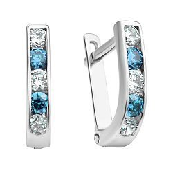 Серебряные серьги с голубыми и белыми фианитами 000132743