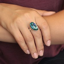 Серебряное кольцо Заводь с имитацией опала в зеленых тонах