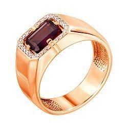 Перстень-печатка из красного золота с гранатом и фианитами 000132825