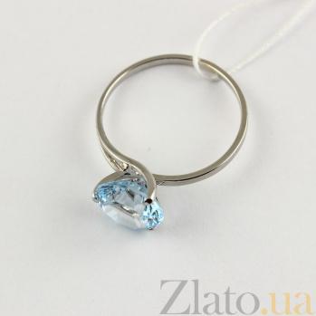 Золотое кольцо с голубым топазом Селесте 000024453