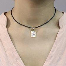Серебряная прямоугольная ладанка Божья Матерь Владимирская с позолотой и чернением