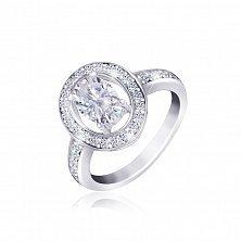 Серебряное кольцо с белыми фианитами Маргарет