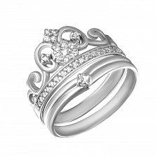 Серебряное тройное родированное кольцо-корона Императрица с фианитами