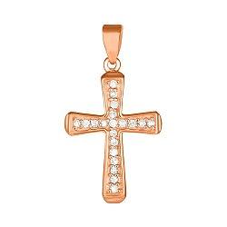 Серебряный крестик Эллада с фианитами и позолотой 000028696