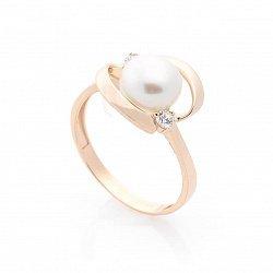 Золотое кольцо Армель с жемчугом и фианитами