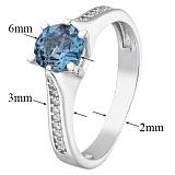 Серебряное кольцо с топазом и фианитами Флавия