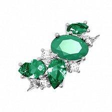 Серебряное кольцо Шейла с зеленым агатом, зеленым кварцем и фианитами