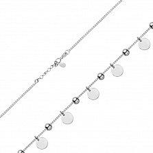 Серебряный браслет Аранта с подвесками-дисками и бусинами, 7мм