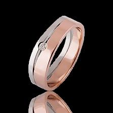 Золотое обручально кольцо Лейден с бриллиантом (женское)