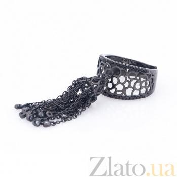 Серебряное кольцо Кисточка с фианитами и чернением 000080125
