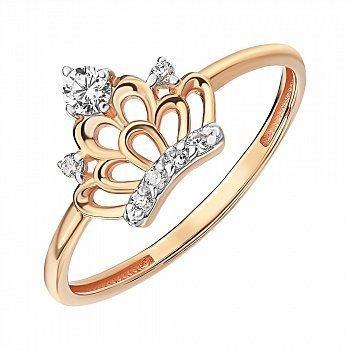 Золотое кольцо в комбинированном цвете с фианитами 000141376