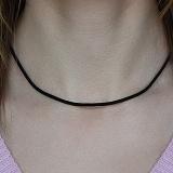 Черный  шнурок с серебряной застежкой Модерн, 2,5мм