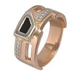 Золотое мужское кольцо Дионис с черным агатом и фианитами
