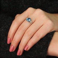 Серебряное кольцо Фрагранс с голубым кварцем и фианитами