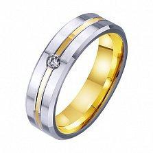Золотое обручальное кольцо Шепот любви с фианитом