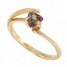 Золотое кольцо Мэган с синтезированным александритом